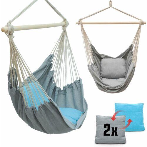 AMANKA Balkon Hängesessel mit 2 Kissen zum Wenden - Outdoor Hängeschaukel für