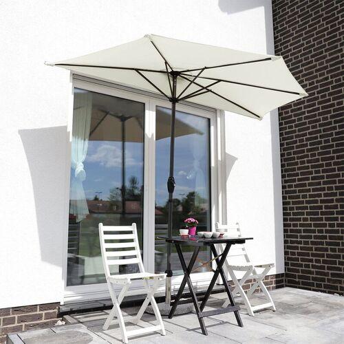 SEKEY Balkon-Sonnenschirm 270×135 cm Halbrund Sonnenschirm UV 50+, Creme