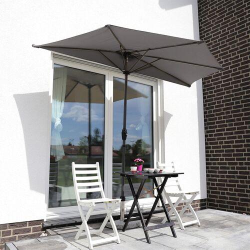 SEKEY Balkon-Sonnenschirm 270×135 cm Halbrund Sonnenschirm UV 50+, Grau