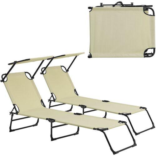 Casa.pro - 2x Sonnenliege 190cm beige mit Sonnendach Gartenliege