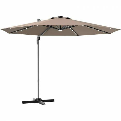 COSTWAY ?300cm Ampelschirm LED Sonnenschirm mit Kreuzstaender, Gartenschirm
