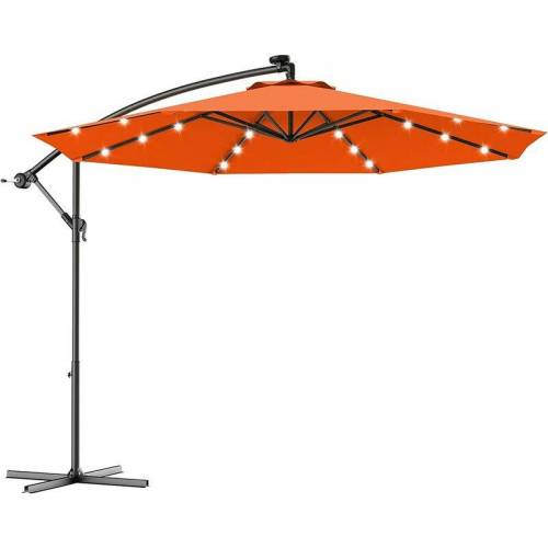 COSTWAY ?300cm LED Ampelschirm Sonnenschirm, Gartenschirm mit Solarlichtern,