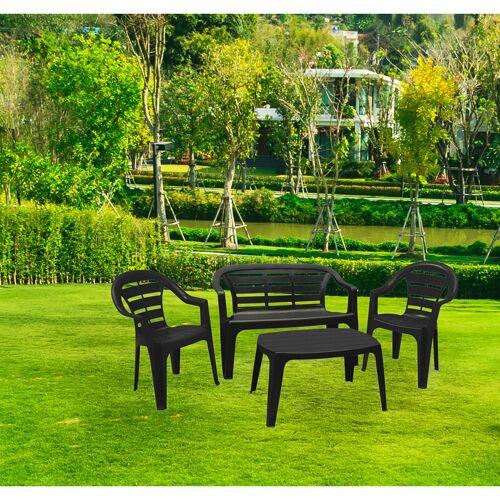 DMORA Outdoor-Set mit 1 Bank, 2 Stühle und 1 Couchtisch, Made in Italy,