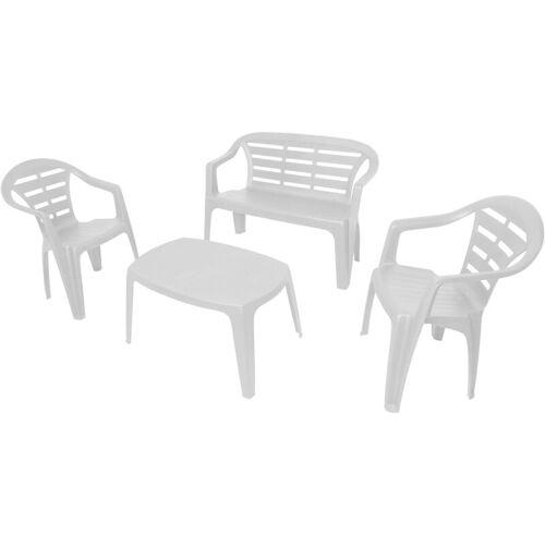 DMORA Outdoor-Set mit 1 Bank, 2 Stühle und 1 Couchtisch, Made in Italy, Weiß