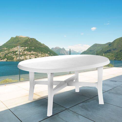 Dmora Ovaler Tisch, Made in Italy, 165 x 110 x 72 cm, Weiß