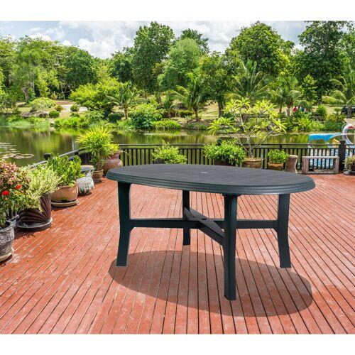 Dmora Ovaler Tisch, Made in Italy, 165 x 110 x 72 cm, Grün