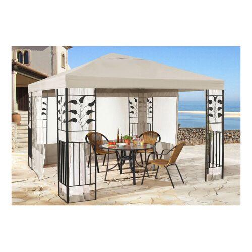 Quick-Star Garten Blätter Pavillon 3x3m Sand Partyzelt Metall Carport mit 4