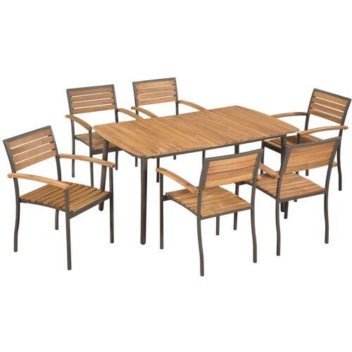 VIDAXL Gartenmöbel Akazie Massivholz Stahl 7-tlg.