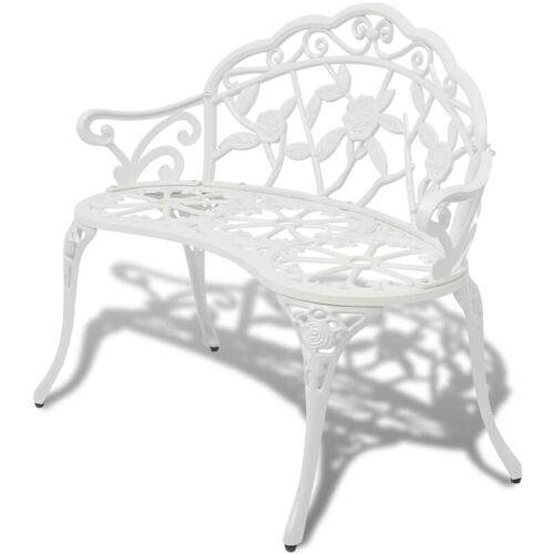 Betterlife - Gartenbank 100 cm Aluminiumguss Weiß