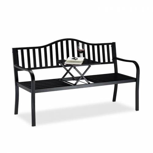 RELAXDAYS Gartenbank mit Klapptisch, 3-Sitzer, integrierte Tischablage, robuste