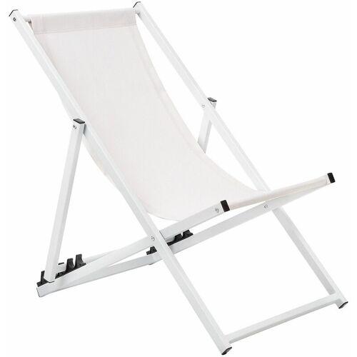 Beliani - Liegestuhl Weiß Cremeweiß Aluminium Textil Balkon Garten