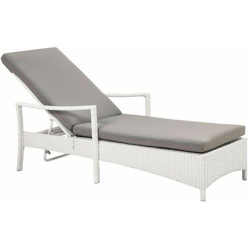 Beliani - Gartenliege weiß/grau Rattan inkl. Auflage verstellbar
