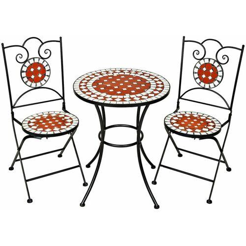 NO_BRAND Gartenmöbel Set Mosaik mit 2 Stühlen und Tisch - Gartentisch,