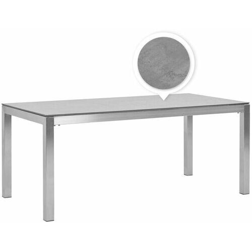 Beliani - Gartentisch Grau Edelstahl HPL-Platte Betonoptik 180 x 90 cm