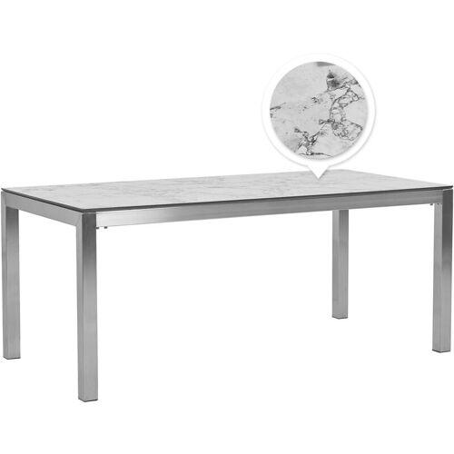 Beliani - Gartentisch Weiß Edelstahl HPL-Platte Marmoroptik 180 x 90 cm