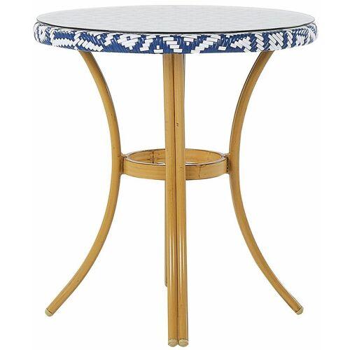 Beliani - Gartentisch mit blauem und weißem Muster Rattan ø 70 cm