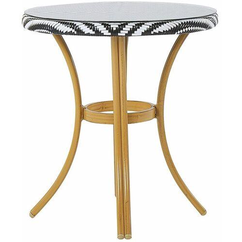 Beliani - Gartentisch mit schwarzem und weißem Muster Rattan ø 70 cm