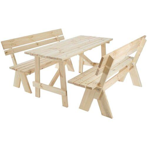HHG Holztischgarnitur Gartentischgarnitur Catania 148x70 cm