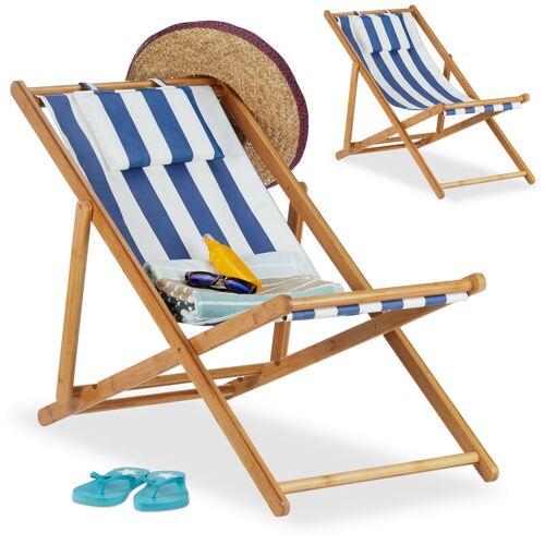 Relaxdays - Liegestuhl im 2er Set, Klappliegestuhl aus Bambus,