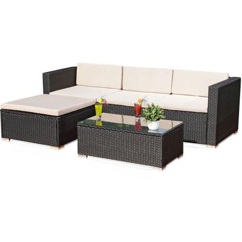 MELKO Rattan Gartenmöbel Set – Couch mit Tisch, Hocker und Stuhl, aus
