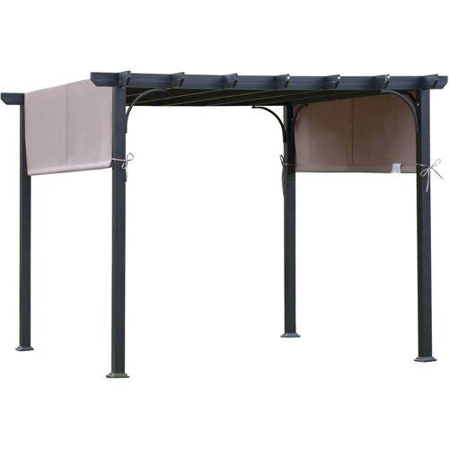 Outsunny ® Pavillon 3x3m Pergola mit einstellbarem Stoffdach UV+ Wasserfest