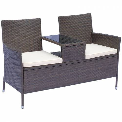 Outsunny ® Polyrattan Gartenbank Gartensofa mit Tisch 2-Sitzer Stahl Braun