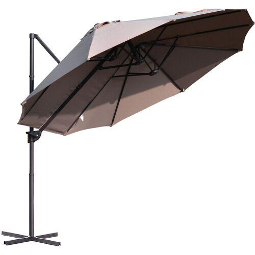 Outsunny ® Sonnenschirm mit Kurbel Doppelschirm Gartenschirm Sonnenschutz Metall