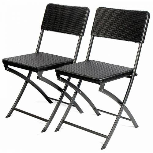 PARK ALLEY Gartenstuhl in schwarz - klappbare Gartenstühle im 2er Set