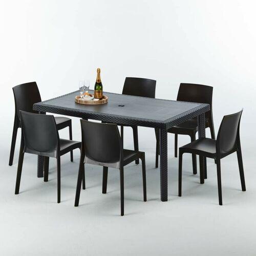 GRAND SOLEIL Poly Rattan Tisch Rechteckig mit 6 Bunten Polyrattan Stühlen 150x90
