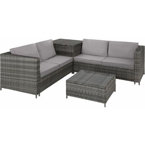TECTAKE Rattan Lounge Siena - Loungemöbel, Gartenmöbel, Gartengarnitur - grau