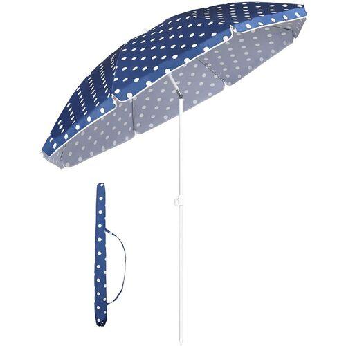 SEKEY Sonnenschirm mit Abdeckhauben 160 cm Marktschirm Rund, Blaue Punkten