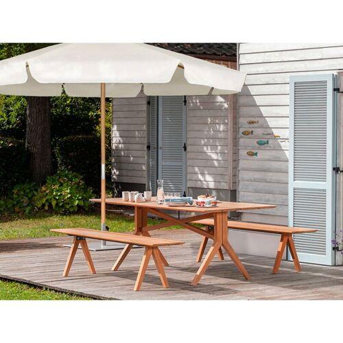 SEKEY Sonnenschirm ohne Neigung, Gartenschirm Marktschirm, Ø 3m - Creme