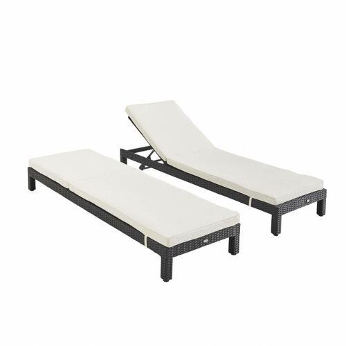 ALICE'S GARDEN Set mit 2 Liegestühlen aus Rrattan (Liegestuhl) - Pisa x2 - Schwarz,
