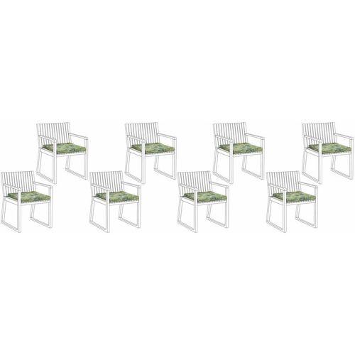 Beliani - Set mit 8 Sitzkissen für Gartenstuhl Grün Polyester