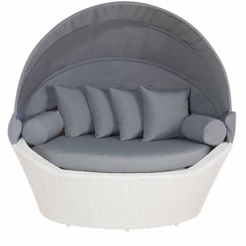 Beliani - Strandkorb weiß/grau Polyrattan Baumwolle 2-Sitzer Sonnendach