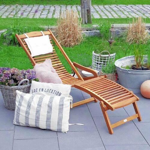 DEUBA Sonnenliege Akazien Holz klappbar Kopfkissen Gartenliege Liegestuhl