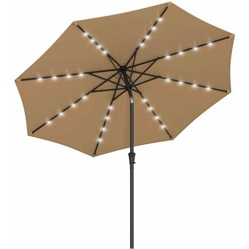 SONGMICS Sonnenschirm mit LED-Solar-Beleuchtung, Gartenschirm Ø 270 cm,