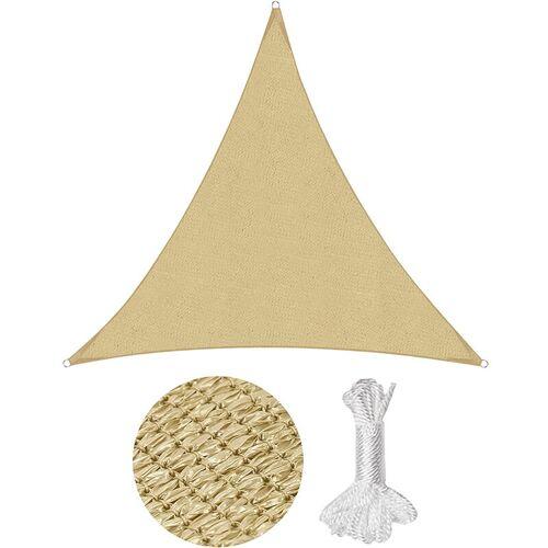 SEKEY Sonnensegel Sonnenschutzsegel Sonnenschutz Dreiecke HDPE, Sand / 5x5x5m