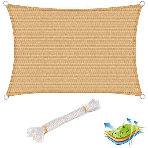 WOLTU Sonnensegel Sonnenschutz HDPE Windschutz UV Schutz Sand 5x7m