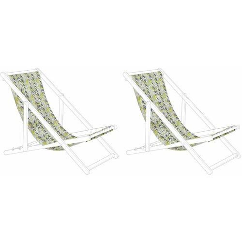 BELIANI Stoffbezüge für Gartenliege 2er Set Gelb / Grau aus Polyester 134 x 44