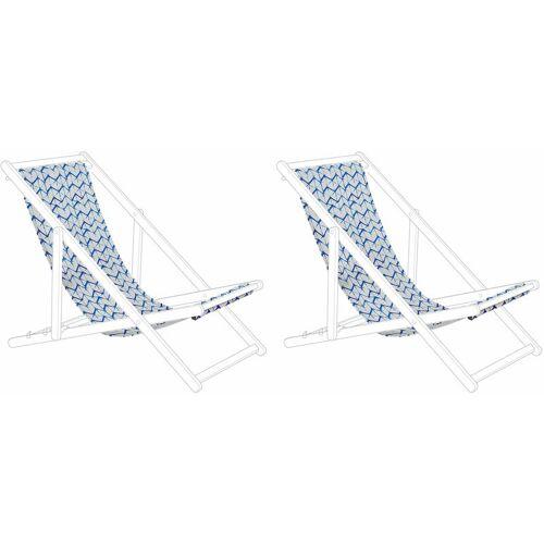 BELIANI Stoffbezüge für Gartenliege 2er Set Weiß/Blau aus Polyester 134 x 44 cm