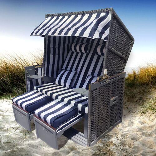 Brast - Strandkorb NORDERNEY grau/blau/weiß gestreift