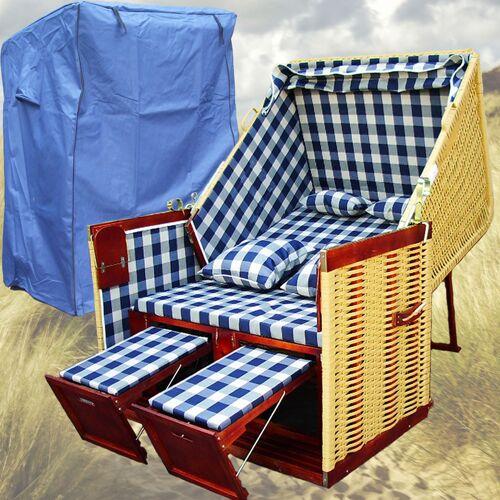 Gardeni - Strandkorb Rattan # 2-Sitzer # XL # blau-weiss # Polyrattan