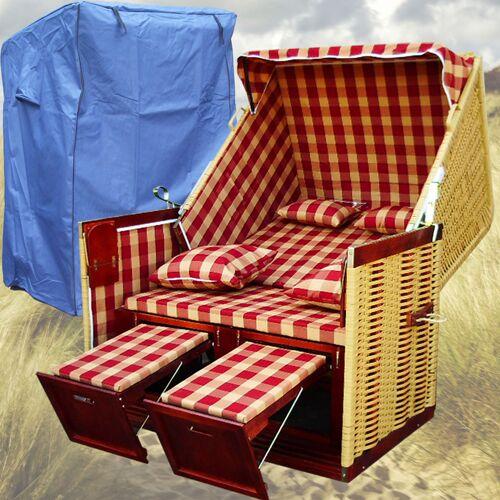 GARDENI Strandkorb Scharbeutz # 2-Sitzer # XL # rot-weiss # Polyrattan