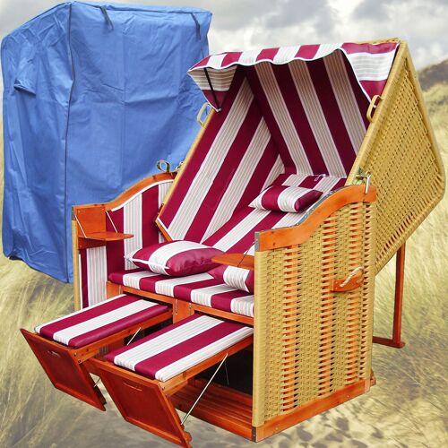 Gardeni - Strandkorb Volllieger # 2-Sitzer # XL # rot-weiss # Polyrattan