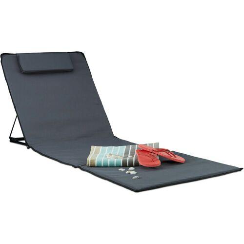Relaxdays - Strandmatte XXL, gepolsterte Sonnenliege m. Kopfkissen,