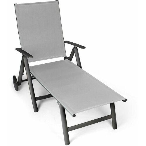 Vanage Sonnenliege in grau - Gartenliege mit 2 Rädern - Liegestuhl ist