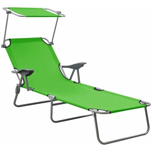Vidaxl - Sonnenliege mit Sonnenschutz Stahl Grün