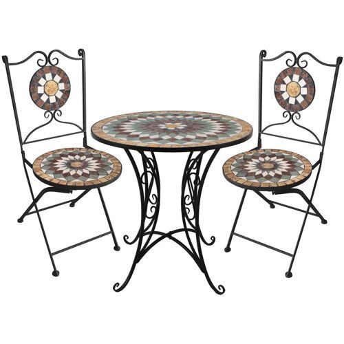 WOHAGA® 3tlg. Mosaik Gartengarnitur Mosaiktisch Ø60cm + Klappstühle /