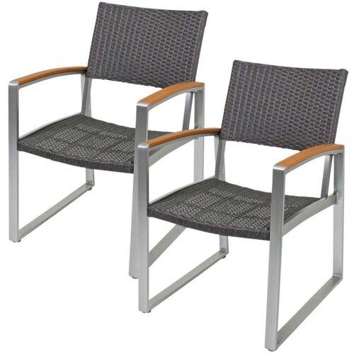 HARMS 2er Set ALU Stühle Sessel Sitze Garten Veranda Balkon-Set Terrasse